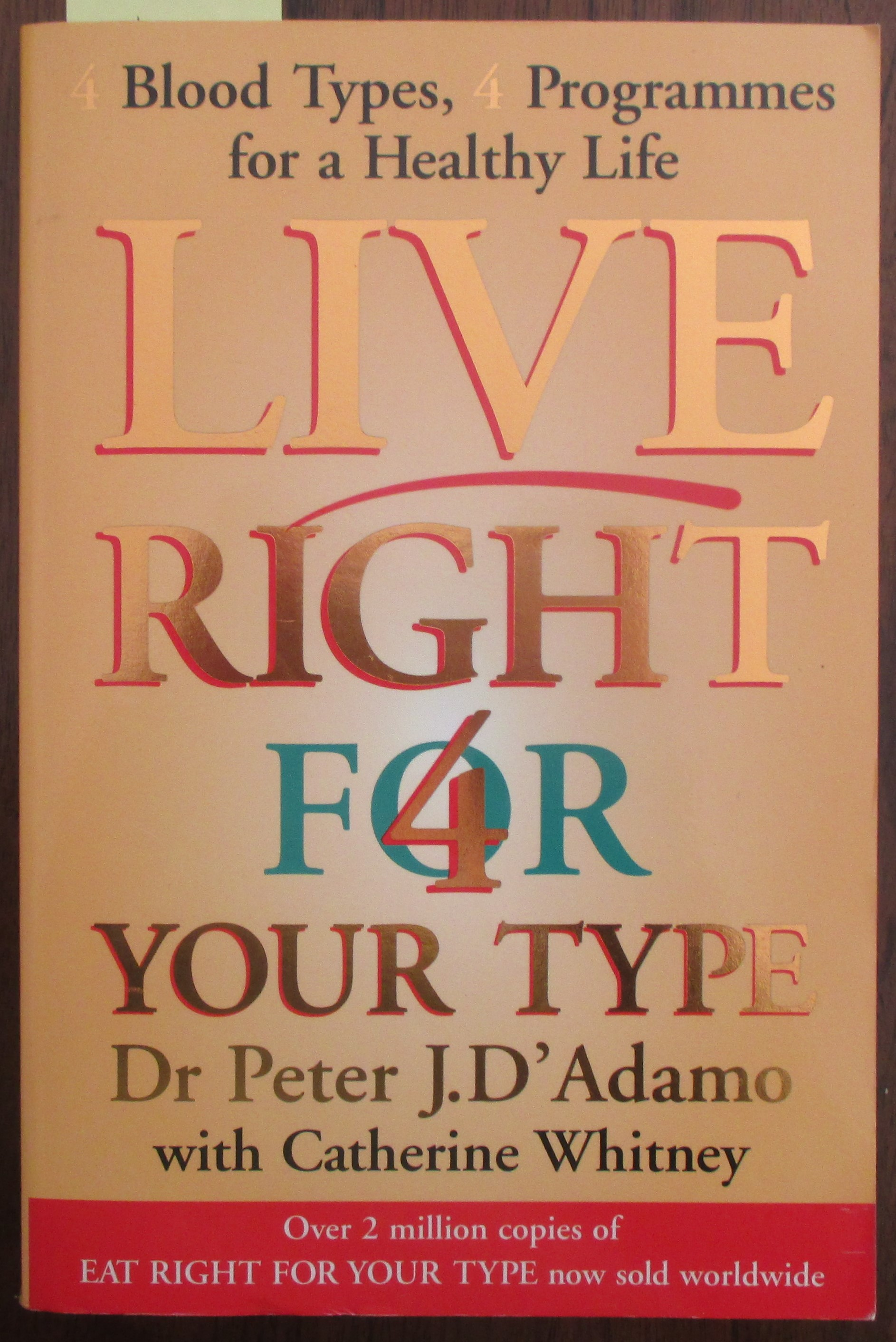Image for Live Right For Your Type: 4 Blood Types; 4 Programmes For a Healthy Life