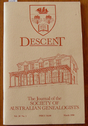 Image for Descent: The Journal of the Society of Australian Genealogists (Vol 20, March 1990, Part 1)