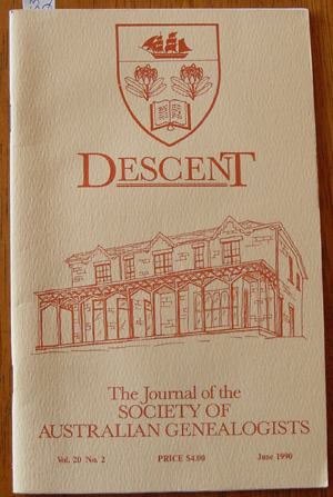 Image for Descent: The Journal of the Society of Australian Genealogists (Vol 20, June 1990, Part 2)