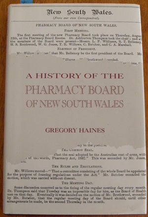 Image for History of the Pharmacy Board of New South Wales, A
