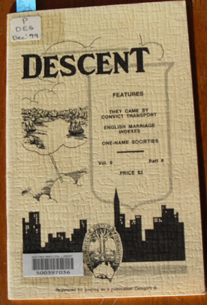 Image for Descent: The Journal of the Society of Australian Genealogists (Vol 9, December 1979, Part 4)