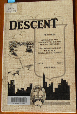 Image for Descent: The Journal of the Society of Australian Genealogists (Vol 8, September 1978, Part 5)