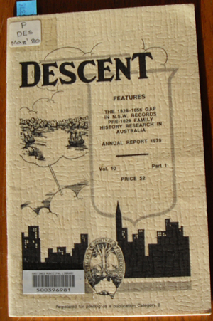 Image for Descent: The Journal of the Society of Australian Genealogists (Vol 10, March 1980, Part 1)